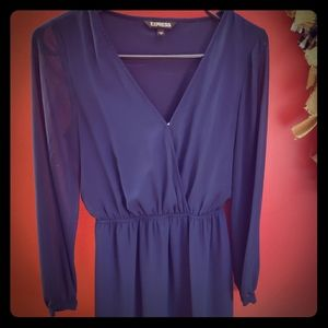 Express sinched waist dress with sheer sleeves